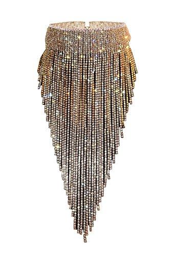 Qiaose Full Shiny Rhinestone Chain Sexy Collar Choker Necklace With Gift Box (Gold)