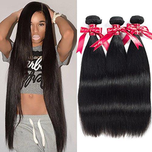 Cheap Subella Brazilian Straight Hair 3 Bundles 8A Virgin Unprocessed Brazilian Straight Human Hair Natural Black Color