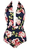 Cocoship Pink Rose Floral & Green Leaves Retro One Piece Backless Bather Swimsuit Pin Up Swimwear Beachwear XL(FBA)