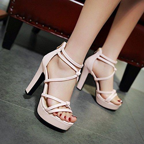 sandalias ZHZNVX cruzada tacón de después con punta abierta sandalias de alto con moda de alto correa tacón Plataforma de White plataforma impermeable sandalias verano impermeable rqEgrCw