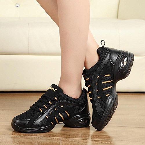 D2c Beauty Womens Mesh Traspirante Moderno Da Ballo Da Ballo Sneaker In Oro Nero