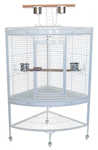 Medium Corner Cage - YML 3/4-Inch Bar Spacing with Wire Gauge 8 Corner Wrought Iron Cage for Small to Medium Parrots in White