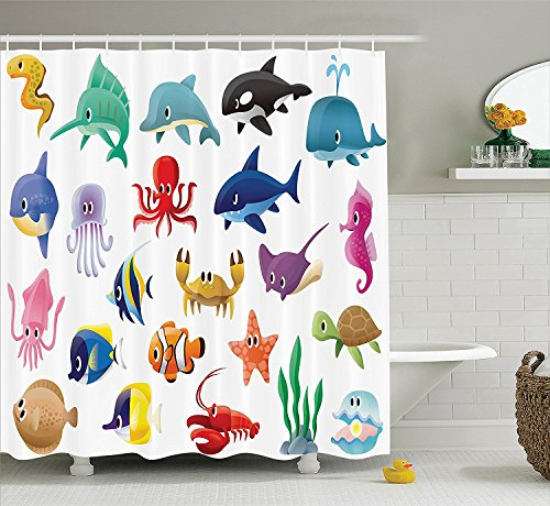[Whale Decor Collection Marine Organisms Stingray Squid Star and Sea Horse Sailfish Lobster Fun Artwork Polyester Fabric Bathroom Shower Curtain Set with Hooks Blue Red] (Squid Costume Ebay)
