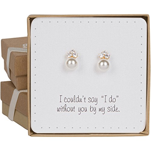 BRIDE DAZZLE Bridesmaid Gifts - Elegant Pearl & Triple CZ Earrings (8mm, Simulated Pearl)
