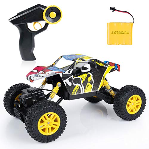 SGILE Remote Control Car, RC Off-Road Car Toy, 4WD 2.4GHZ Racing Buggy for Boys Kids Adults, Yellow Dune Buggy Beach Car