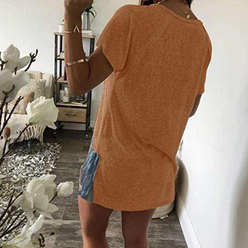 Button Shirt con Donna Manica Donne Corta Maglietta Giovane Estivi Rotondo Sciolto Bluse Camicetta Tempo Tops Eleganti Collo di Libero Base Moda qXYpUwxpd