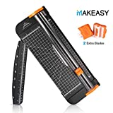 A4 Paper Cutter with 2 Extra Exchange Blade, MAKEASY 12 inch Titanium Paper Trimmer, Photo/Label/Card Cutter Scrapbooking with Automatic Security Safeguard, Black