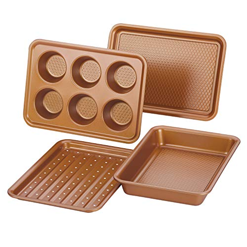 Ayesha Curry 47704 Nonstick Bakeware Toaster Oven Set with Nonstick Baking Pan, Cookie Sheet / Baking Sheet and Muffin Pan / Cupcake Pan - 4 Piece, Copper Brown (Pan For Toaster Oven)