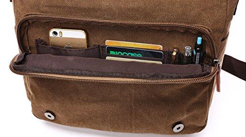 89794cb387 Kenox Vintage Canvas Laptop Messenger Bag School Bag Business Briefcase 16  Inches