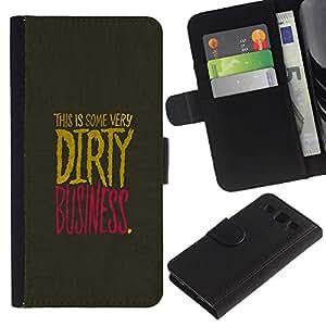 """[Neutron-Star] Modelo colorido cuero de la carpeta del tirón del caso cubierta piel Holster Funda protecció Para Samsung Galaxy S3 III i9300 i747 [Dirty Businesse Cita Slogan Vida sesión de negocios""""]"""