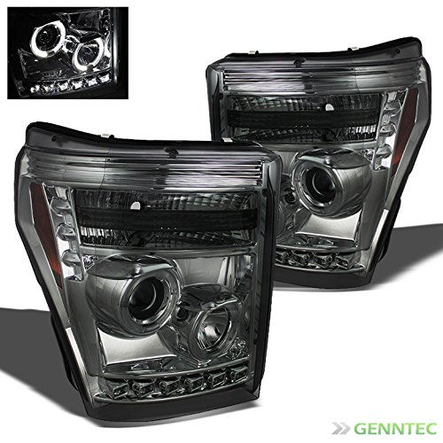 Xtune 2011-2015 F250/F350/F450/F550 Twin Halo DRL LED Smoke Projector Headlights Front Lamps Pair L+R 2012 2013 2014