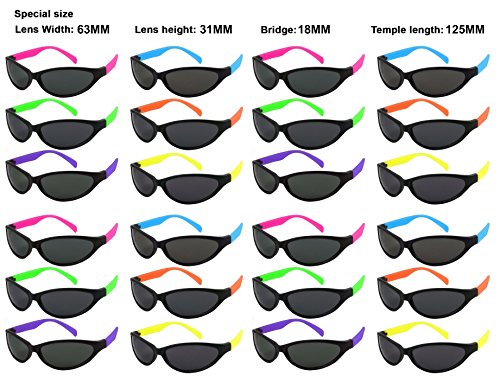 Edge I-Wear 24 Pack 80's Neon Sport Style Sunglasses with CPSIA certified-Lead(Pb) Content Free and UV Protection 5460R/SET-24 (Made in Taiwan)