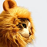 AYOGU1 Lion Mane Wig Costume for Cat Halloween Dress with Ears Pet Festival Party Fancy Hair Cat Clothes (Gold)