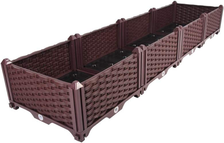BAOYOUNI Rectangular Raised Garden Bed Kit Indoor Outdoor Plastic Planter Grow Box for Fresh Vegetables, Herbs, Flowers & Succulents, Brown, 61.41'' x 15.35'' x 8.66''