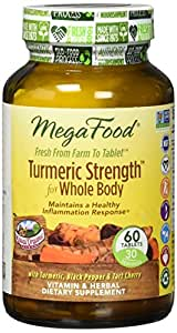MegaFood - Turmeric Strength for Whole Body, Curcumin Support for Healthy Inflammation, 60 Tablets (FFP)