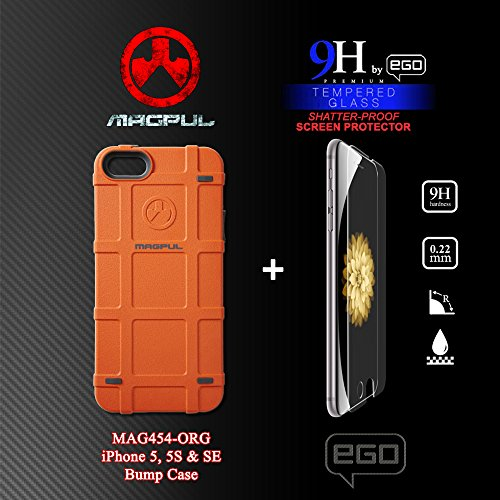 Magpul Bump Case for iPhone 5/5s and iPhone SE, Solid Orange (MAG454-ORG) with EGO 9H Shatter-Proof Tempered Glass Screen Protector Combo-Pack]()