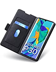 Aunote Huawei P30 Flip Case with Card Holder, Magnetic Closure, and Kickstand - Ultra Slim Leather Wallet/Folio Notebook, (Hard PU + Soft TPU) Full Cover - Compatible HuaweiP30 Phone