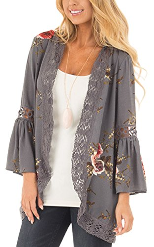 ECOWISH Womens Floral Print Loose Puff Sleeve Kimono Cardigan Lace Patchwork Cover Up Blouse, Gray, US M