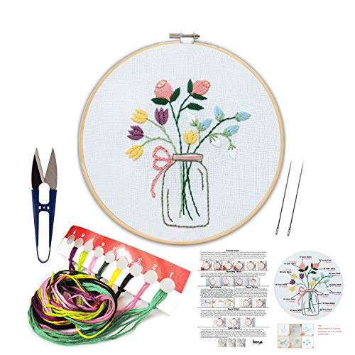 Embroidery Kit Including Embroidery Hoop,Color Threads and Embroidery Scissors for Beginners-Handmade Needlepoint Kits for Adults Kids(Flowers) ()