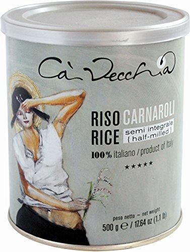 Ca Vecchia Riso Italiano Italian Long Grain Rice, 1.1 pounds/500 grams (Carnaroli Semi-integrale (Half-milled))
