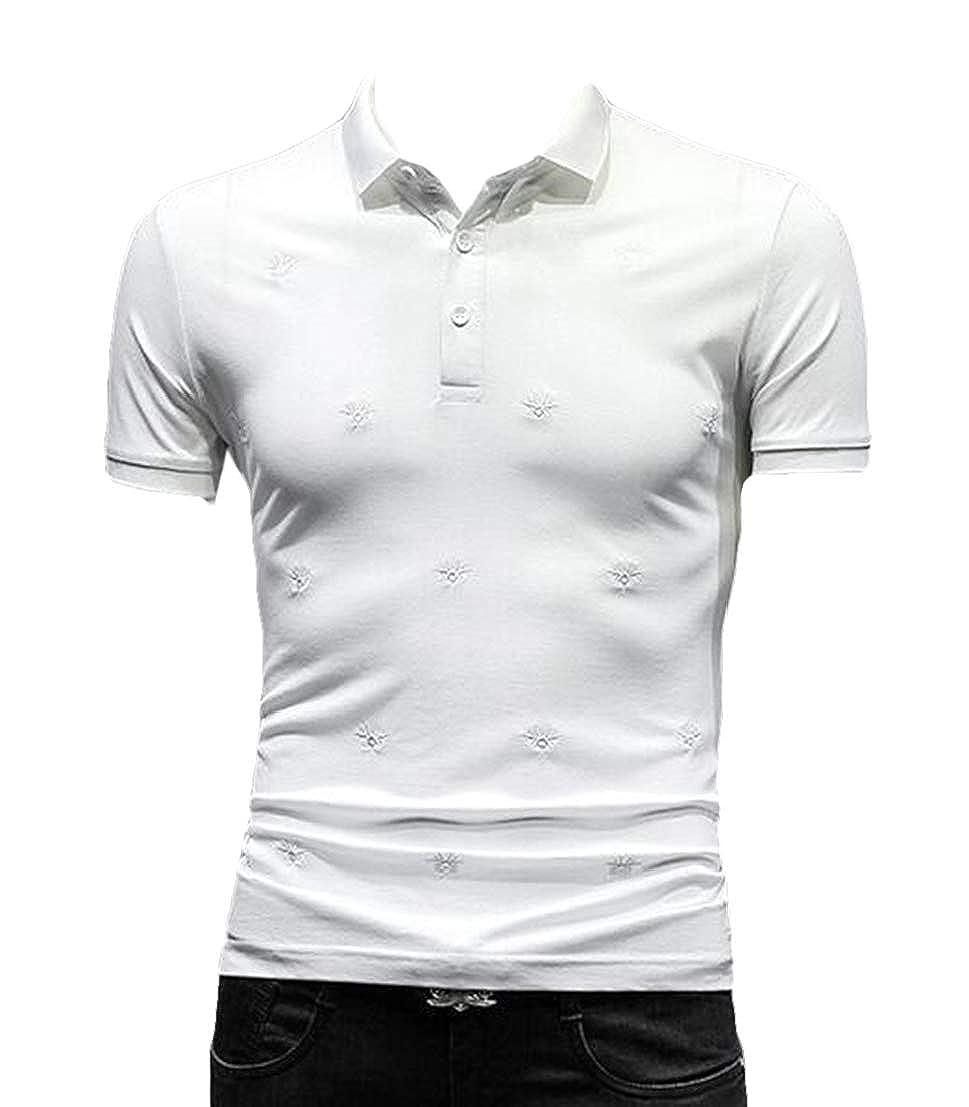 UUYUK Men Short Sleeve Spread Collar Wear to Work Embroidery Slim Polo Shirt