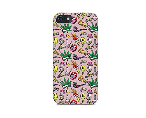 iPhone 6/iPhone 6S - Hard Plastic Case - Weed - Weeds - Weed Pattern - Cute Weed Pattern - Pattern - Fun - Funny - Pink (I For Cases Weed Phone 6)