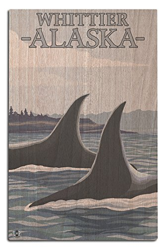 Hanging Whittier - Lantern Press Orca Whales #1 - Whittier, Alaska (12x18 Wood Wall Sign, Wall Decor Ready to Hang)