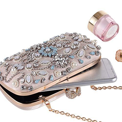 Diamante de Cristal Embrague ocasin de Bolso Hukangyu1231 de Embrague muje Mujeres Las Especial de de de Bolsos Bolso Bolso Las Noche de Bolsos del Noche de de Tarde Beige Negro Artificial de Color wIq5ZO