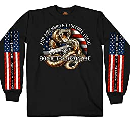 Hot Leathers Men\'s Long Sleeve 2nd Amendment Shirt (Black, Large)