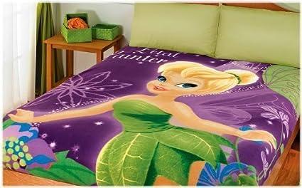 6bd1d77796a Disney Tinkerbell Fleece Blanket Fits Twin/ Full: Amazon.co.uk ...