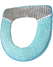 Bathroom Toilet Seat Cover Soft Thicker Warmer Stretchable Washable Cloth Toilet Seat Cover Pads