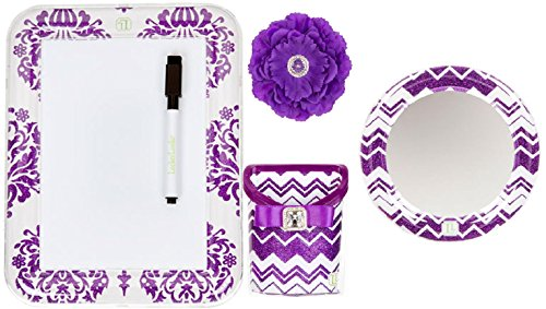 Board Erase Flower Dry (Locker Lookz Bin, Dry Erase Board, Mirror and Peony Flower Magnet Set 2015 Limited Edition (Set of 4) (Purple))