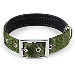 Dog Collar Adjustable Neck Strap for Large Medium Small Pet Dog Pure Color (XS, Army Green)