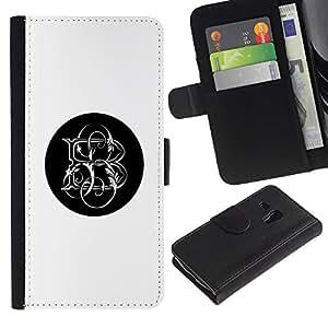 iBinBang / Flip Funda de Cuero Case Cover - Negro carta iniciales - Samsung Galaxy S3 MINI NOT REGULAR! I8190 I8190N