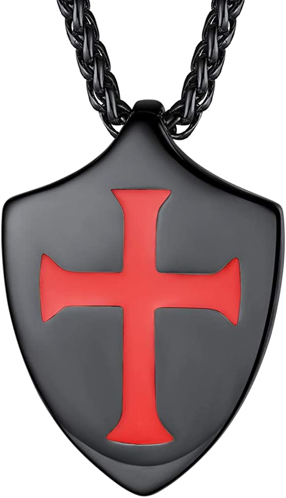 FaithHeart Knights Templar Seal Necklace Christ Fellow-Soldiers Stainless Steel Saint-Omer Pewter Jewelry, Men's Charm Medallion with Gift Packaging Customize Available