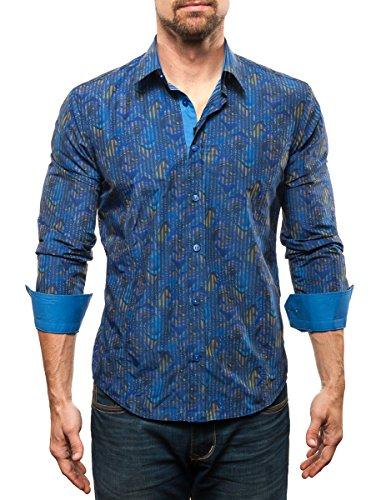 Michael & David Men's Casual Fashion Slim Fit L/S Dress Shirt RY BL Med MD548
