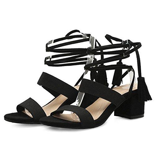 RAZAMAZA Mujer Elastico Cordones Correa al Tobillo Sandalias Tacon Ancho Alto Zapatos Negro