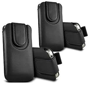 ONX3 - TWIN PACK - Huawei Ascend Y600 botón magnético PU Tire de la lengüeta protectora de piel cubierta de bolsa de la caja (Negro)