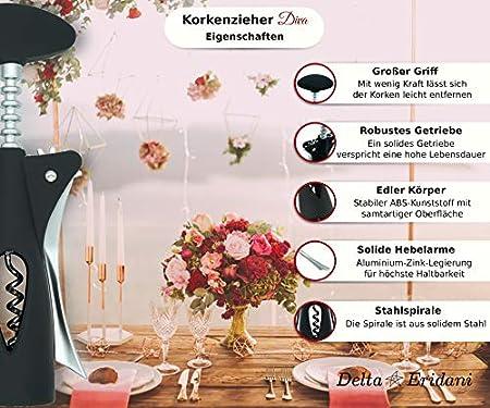 Sacacorchos Diva – Moderno, elegante, elegante y atemporal – tu abridor de vino o como regalo – abrebotellas para vino