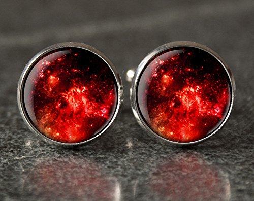 Red Nebula Cufflinks,Mars Cuff Links,Galaxy Cufflinks,Solar System Cufflinks,Handmade Cufflinks,Glass Round Silver Cufflinks,Charm Jewelry,Shirt Cufflinks,Vintage Style,