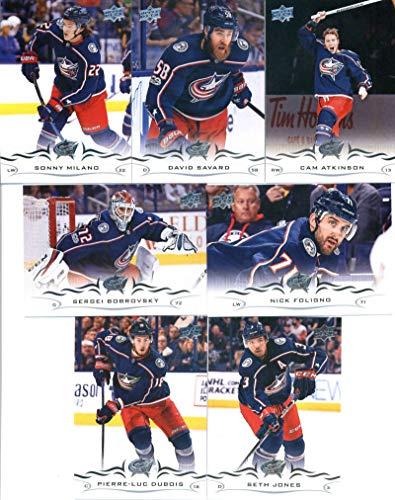 2018-19 Upper Deck Series 1 and 2 Hockey Complete Columbus Blue Jackets Team Set of 13 Cards: Pierre-Luc Dubois(#51), Sergei Bobrovsky(#52), Seth Jones(#53), Cam Atkinson(#54), David Savard(#55), Sonny Milano(#56), Nick - Blue Columbus Hockey Team Jackets
