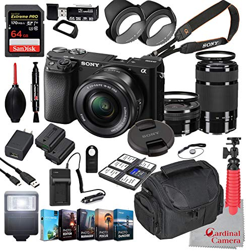 Sony Alpha a6100 Mirrorless Camera with 16-50mm and 55-210mm Lenses Bundle + Extreme Speed 64GB Memory + (31 Items)