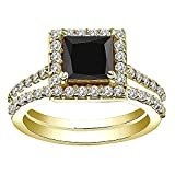 3.5 Carat Black Princess Diamond Halo Beautiful Anniversary Bridal Women Band Ring 14K Yellow Gold