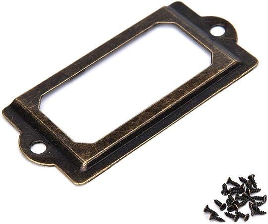 12Pcs Antique Brass Metal Label Pull Frame Handle File Name Card Holder For Furn