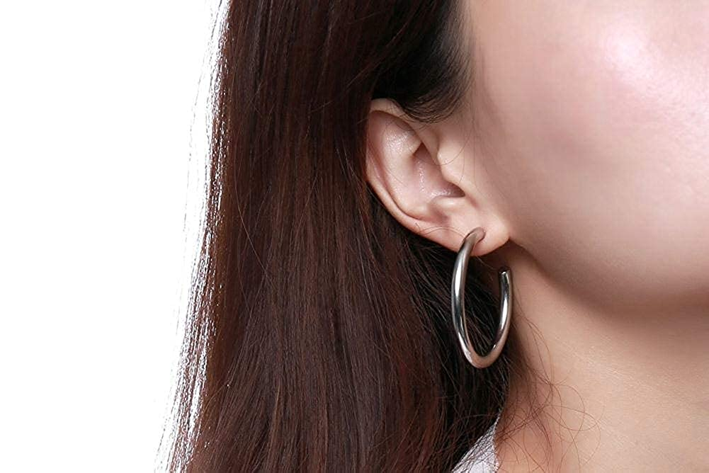 42mm Diameter JAJAFOOK 3 Pairs Three Color Stainless Steel Simple Minimalist Half Hoop Earrings for Women Girl