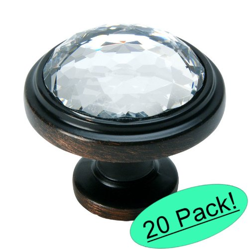 Cosmas 5317ORB-C Oil Rubbed Bronze Cabinet Hardware Round Knob with Clear Glass (20 Bronze Crystal)