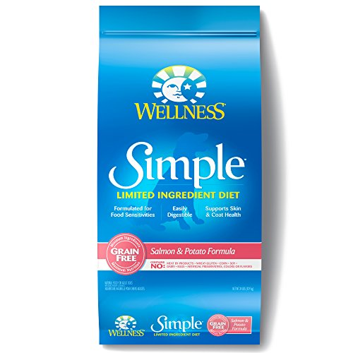 Wellness Simple Natural Grain Free Dry Limited Ingredient Dog Food, Salmon & Potato, 24-Pound ()