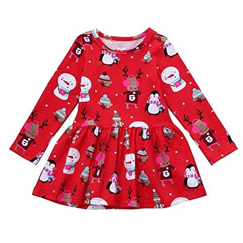 Zukuco Baby Girl Christmas Outfit Toddler Girl Snowman Penguin Deer Dress Clothes(2-3 Years, red) ()