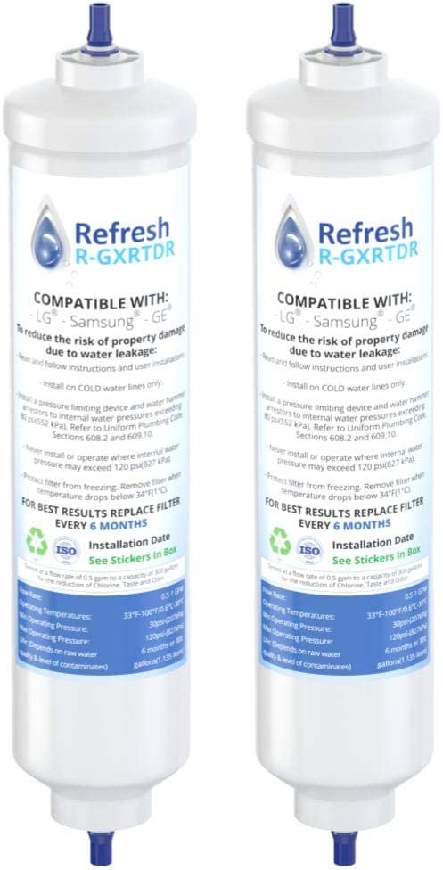 Refresh Replacement Refrigerator Water Filter for GE GXRTDR, GXRTPR, GXRTDQ, Whirlpool WHKF-IMTO and Samsung DA29-10105J, HAFEX/EXP, 4378411RB (2 Pack)