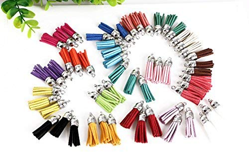 Mini Skater 16 Random Colors Faux Suede Tassel,Leather Tassels DIY Accessories with Silver Cap for Cellphone Keychain Earring Handbag Decoration(64 Pcs)